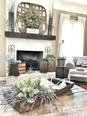 Unique Farmhouse Fireplace Design Ideas For Living Room38
