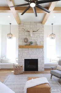 Unique Farmhouse Fireplace Design Ideas For Living Room43