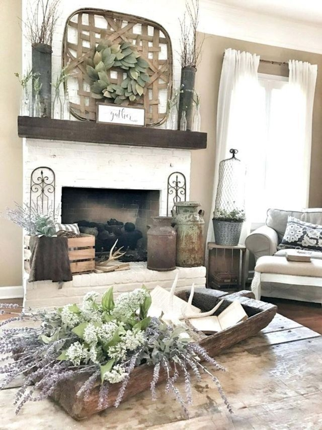 48 Unique Farmhouse Fireplace Design Ideas For Living Room ...