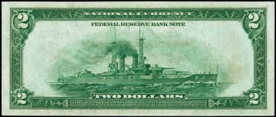 1918 $2 Federal Reserve Bank Note Battleship