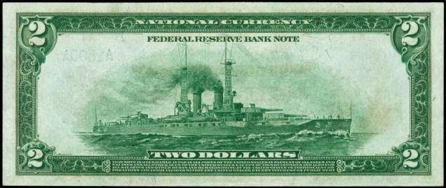 1918 $2 Federal Reserve Bank Note Battleship