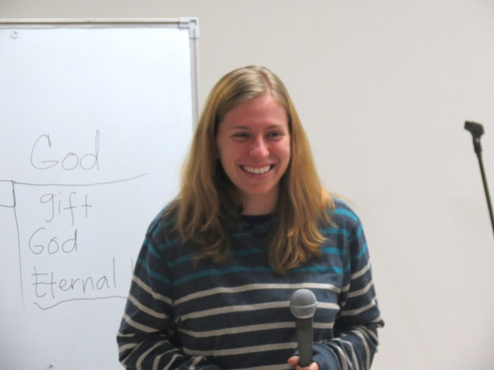 Nat smiles as she teaches at Making Disciples Class.