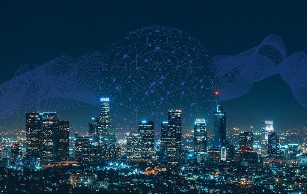 Ciudad conectada a través de internet. El mundo está conectado