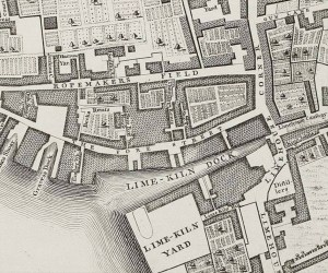 The Ship brewhouse, shown off Fore Street, Limehouse in a map drawn circa 1741-45