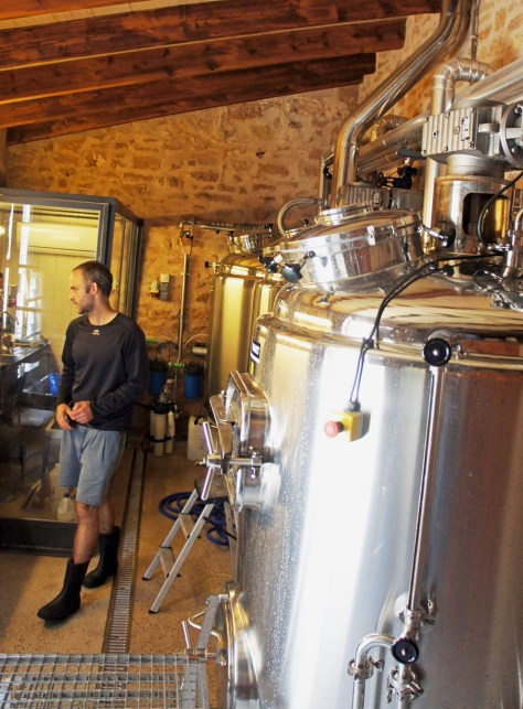 The brewhouse at the Beer Lovers brewery in Alcuida, with the lauter tun/whirlpool in the foreground