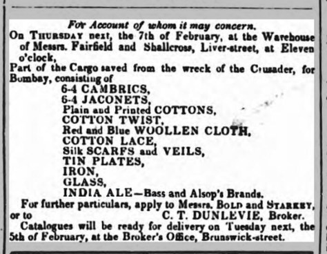 Advertisement from the Liverpool Mail, Thursday 31 January 1839, for the sale opf India ale rescued after the wreck of the Crusader East Indiaman in the Great Storm three weeks earlier