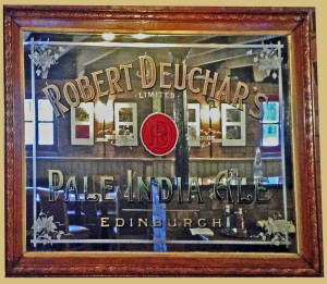 An original Deuchar's brewery mirror, now in the tasting bar at the Caledonian brewery, rescuded from a pub in Bath