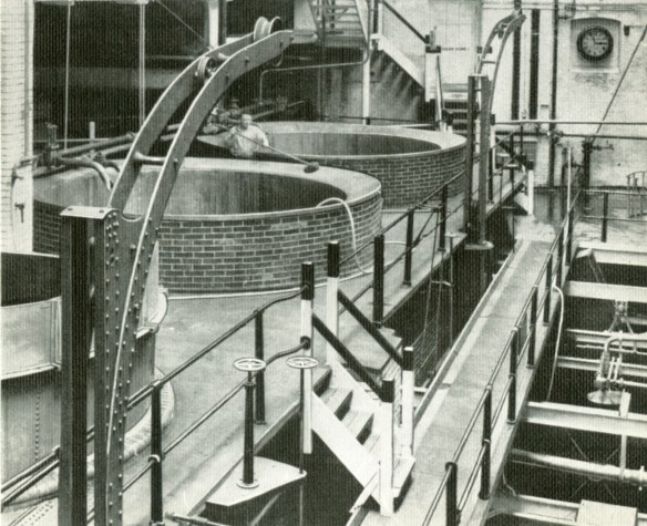 Coppers in the 'pale ale' copperhouse at the Mortlake brewery around 1938