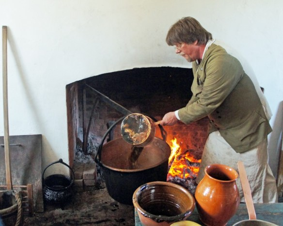 Ladling the wort into the copper