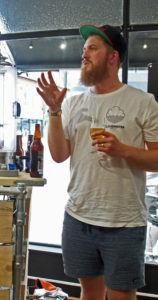 Paul Jones, co-founder of Cloudwater, speaking at the Real Ale shop in East Twickenham, Middlesex