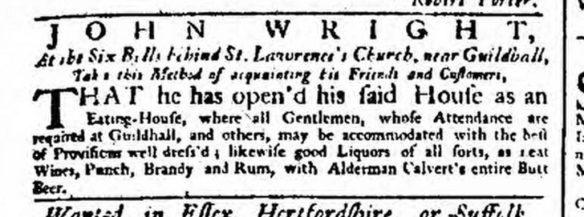 Alderman Calvert's Entire Butt Beer advertised in London in 1749