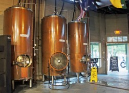 Curley, Larry and Moe, three fermenting tanks at the Covington brewery
