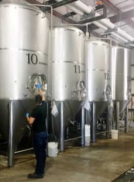 Fermenting vessels, Bayou Teche brewery: each is named for a town along the bayou